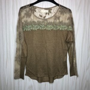 a'reve long sleeve lace crochet blouse